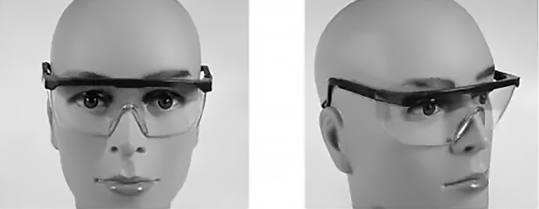 Safety Goggles Front and Side Views
